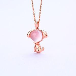 Rose Quartz Pink Dog Pendant Rose Gold Plated